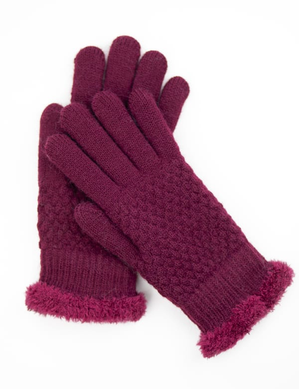 Textured Knit Touch Gloves