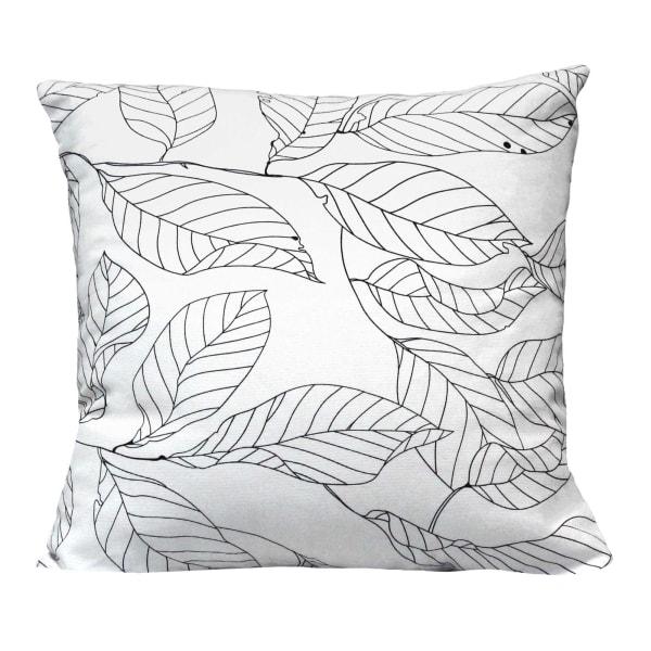 Black on White Leaf Outline Square Pillow