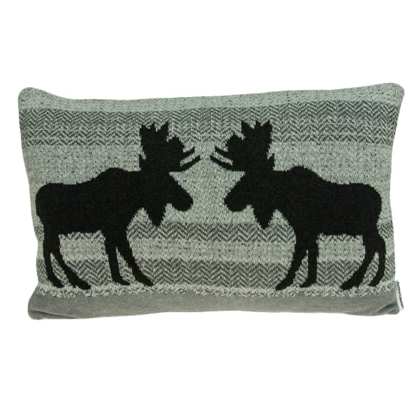 Heather Gray Moose Lodge Printed Pillow Cover