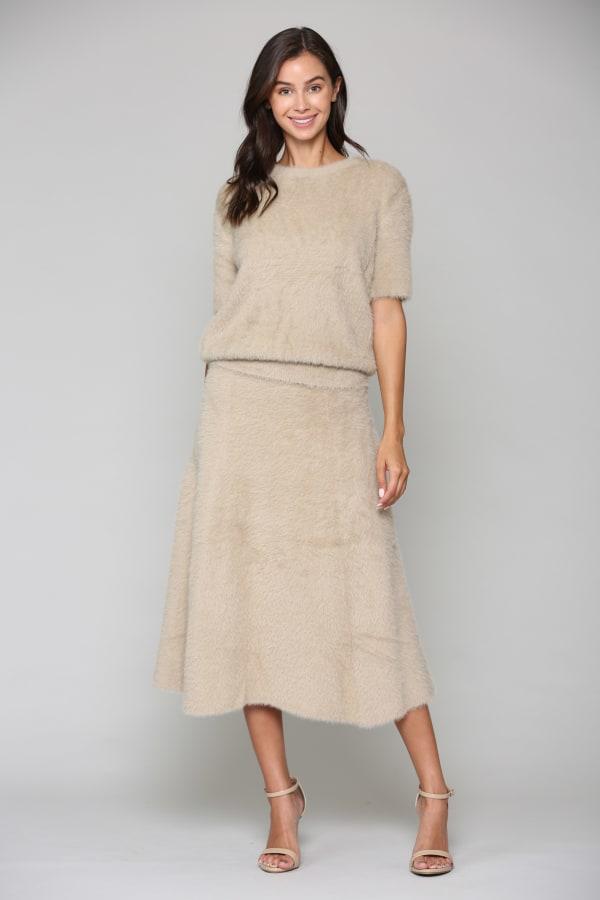Stephanie A-Line Skirt - Khaki - Front