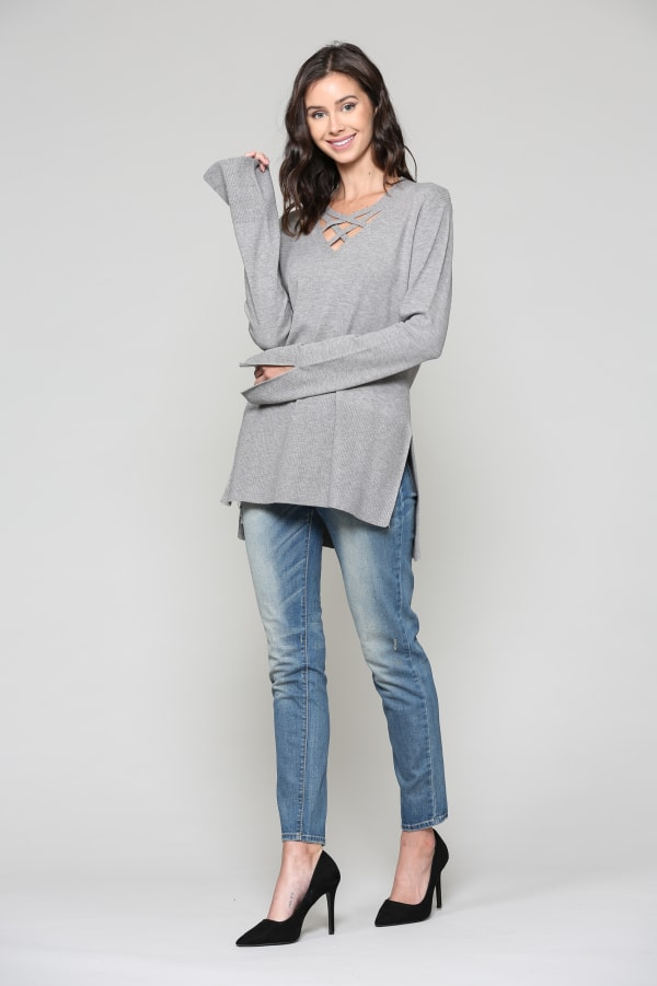 Selena Top - Charcoal - Front