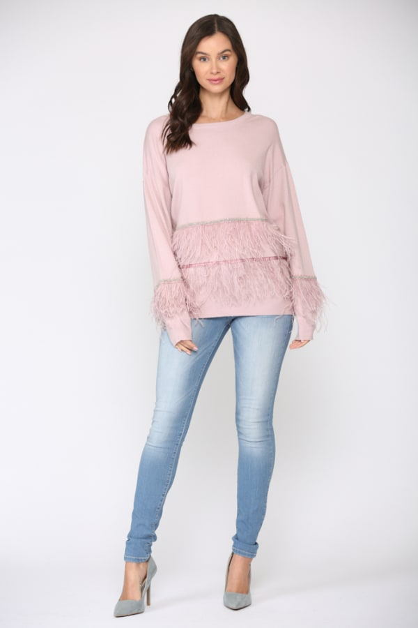 Sally Ostrich Feather Sweater - Pink - Front