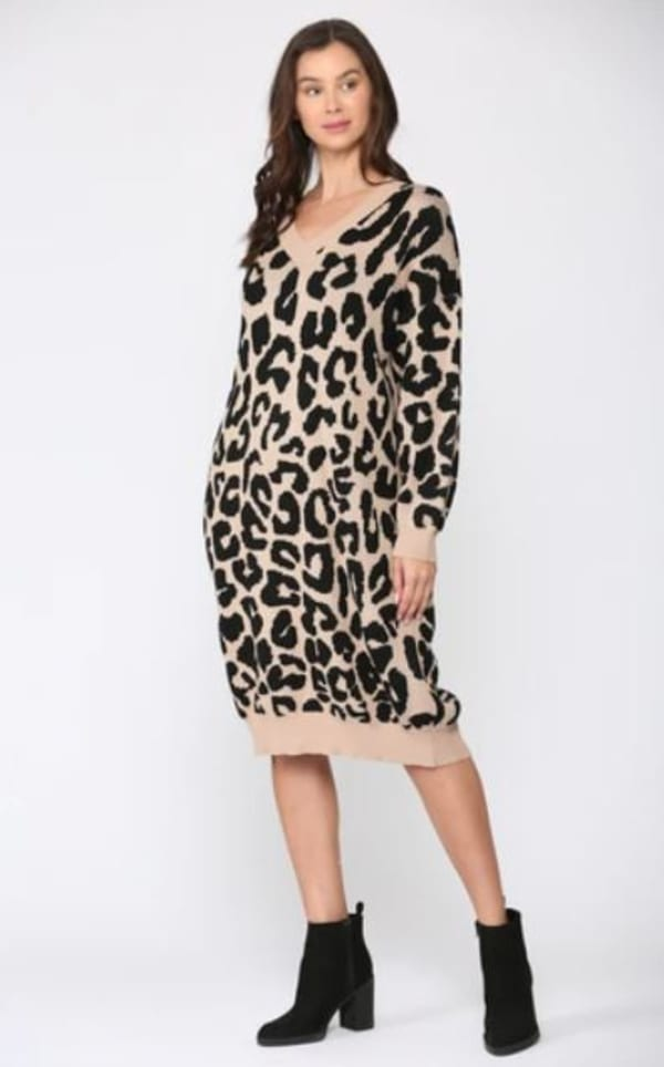 Stelle Long Sleeve Animal Print Sweater Dress