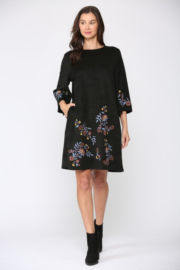 Avery 3/4 Sleeve A-Line Embroidered Dress - Black floral - Front
