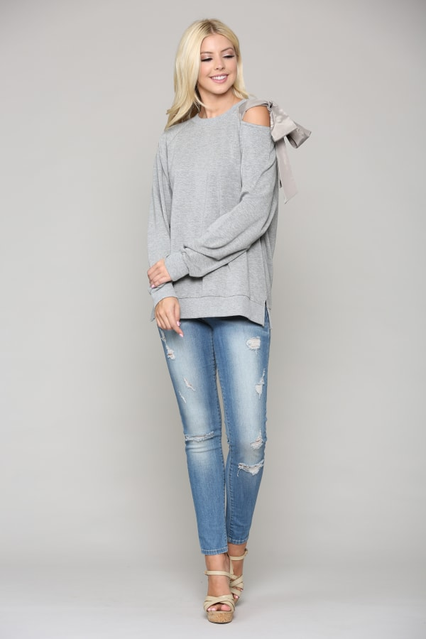 Faith Knit Top - Heather Gray - Front
