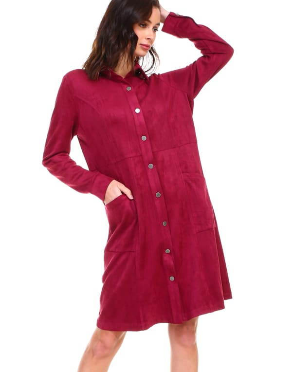 Anne Long Sleeve Front Snap Button Dress - Wine - Front