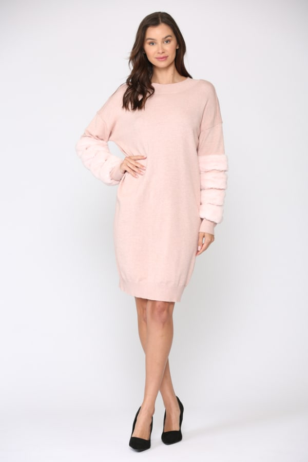 Sonia Fur Dress - Pink - Front