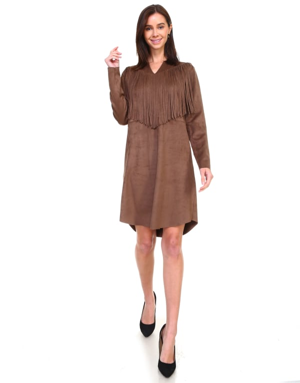 Angie Long Sleeve Fringe Dress - Umber - Front