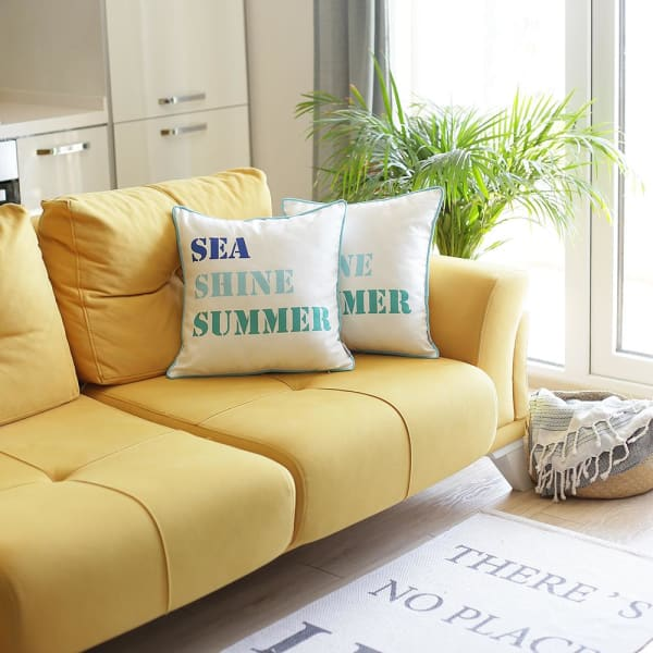 """Set of 2 18"""" Sea Shine Summer Throw Pillow Cover in Multicolor"""