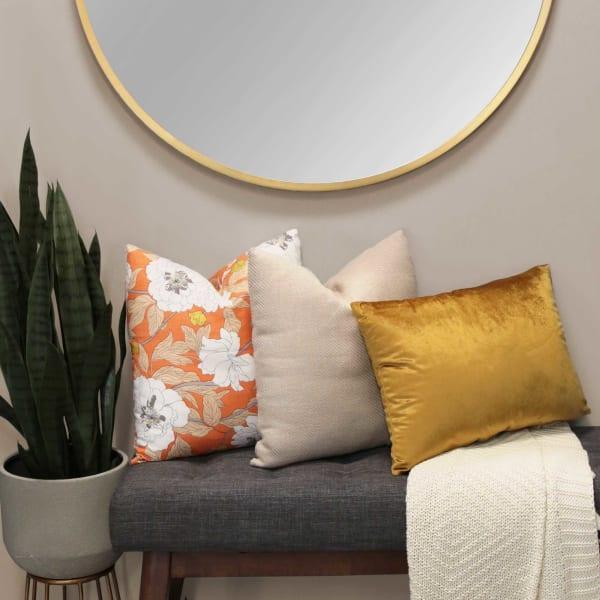 Sand Beige Tweed Textured Velvet Square Pillow