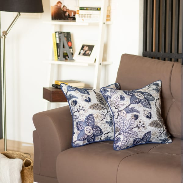 """Set of 2 17"""" Jacquard Forest Sky Throw Pillow Cover in Blue"""