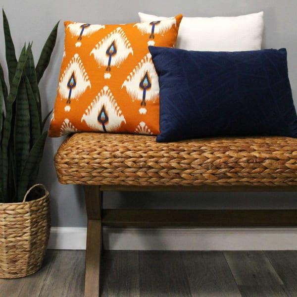 Orange Ikat Design Square Pillow