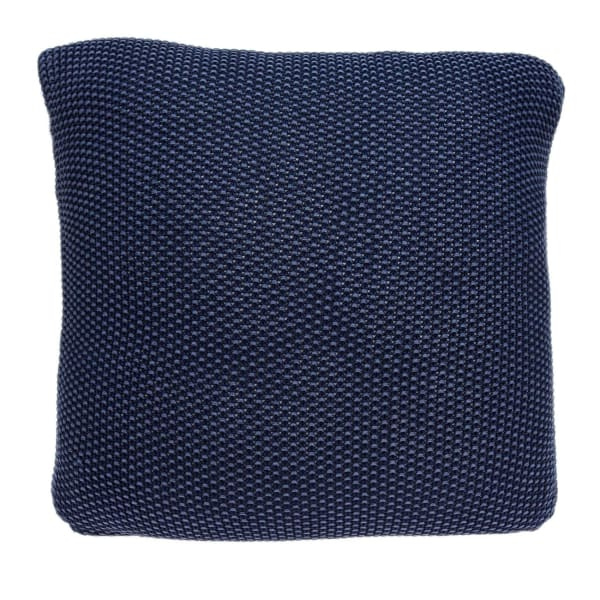 Casual Square Knit Navy Blue Accent Pillow Cover