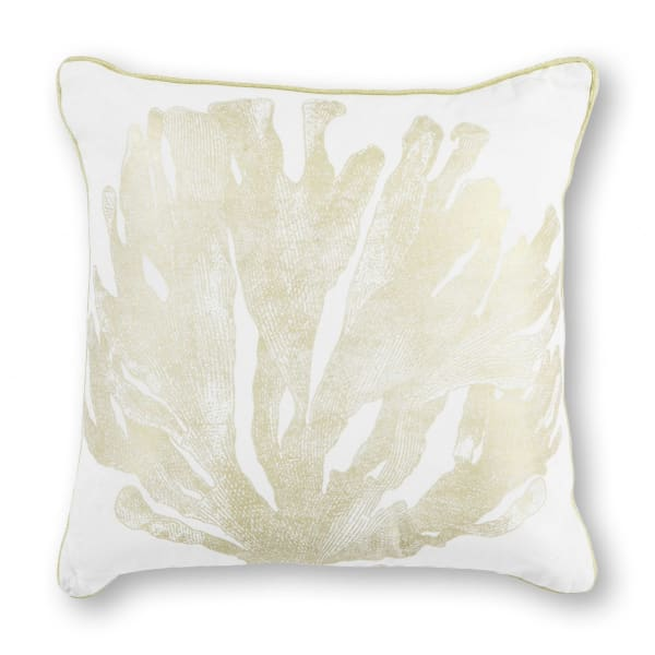 Square Tropical Accent Pillow - White - White - Front