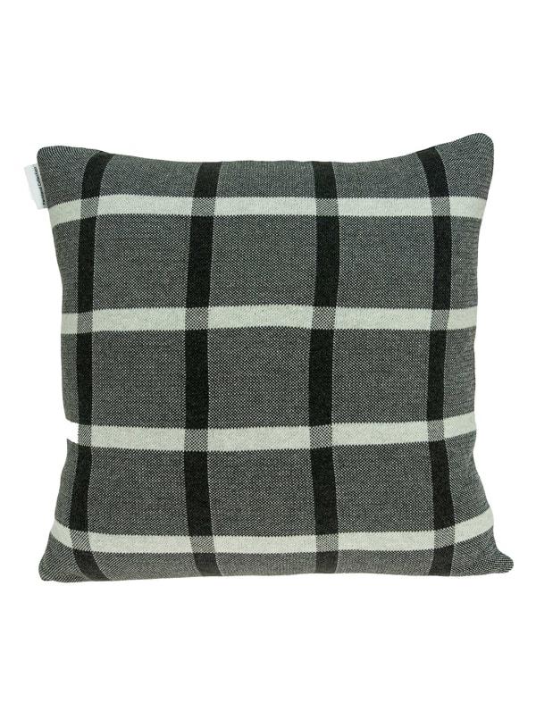 Gray Plaid Cotton Pillow Cover