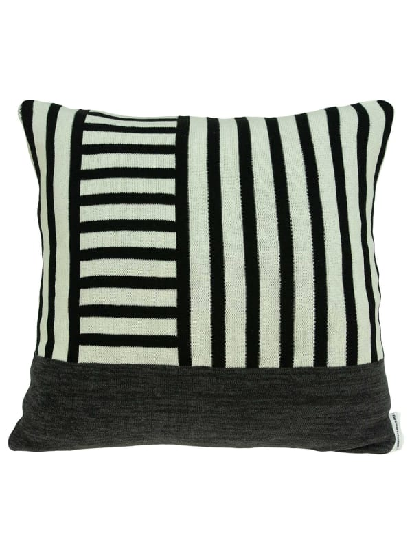 Modern White and Black Accent Pillow Cover - White - Front