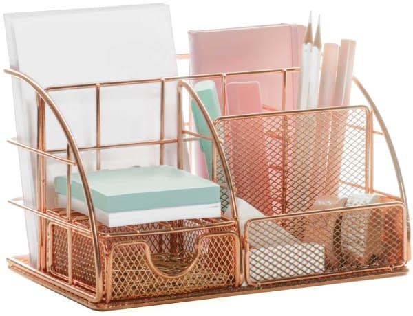 Stylish Rose Gold 6 Compartment Desk Organizer