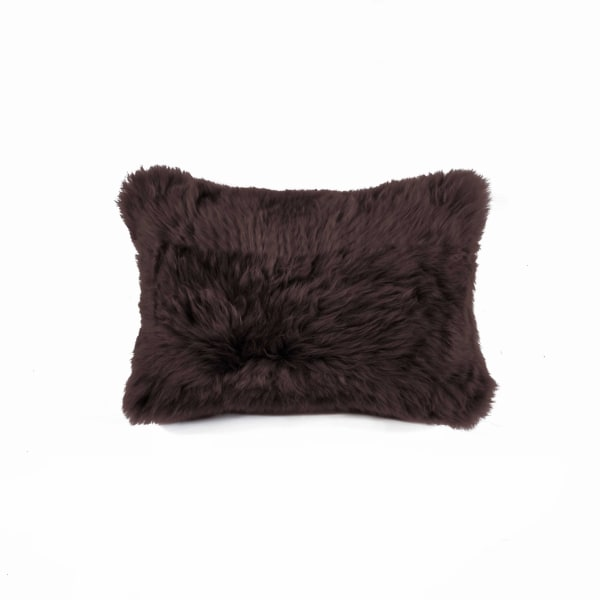 "12"" x 20"" x 5"" Chocolate Sheepskin - Pillow - Chocolate - Front"
