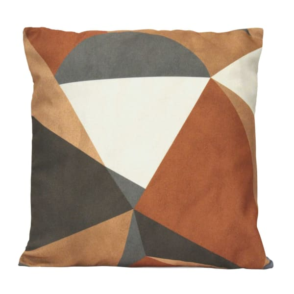 Neutral Tones Abstract Velvet Square Pillow - Neutral - Front