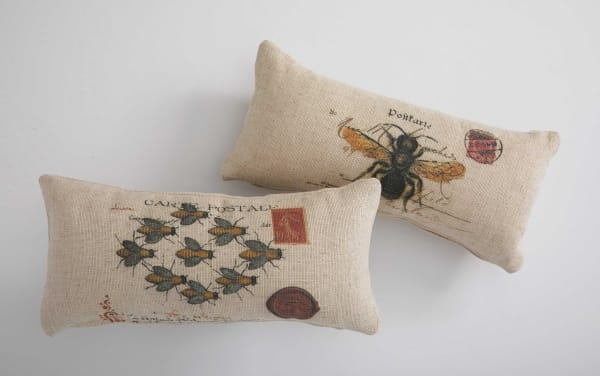 Oatmeal Bees Natural Colors Decorative Pillow