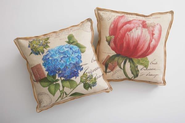 Oatmeal Peony and Hydrangea Decorative Pillow