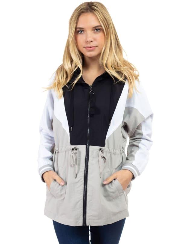 Dolman Sleeve Dry Nylon Color Block Anorak Jacket - Black - Front