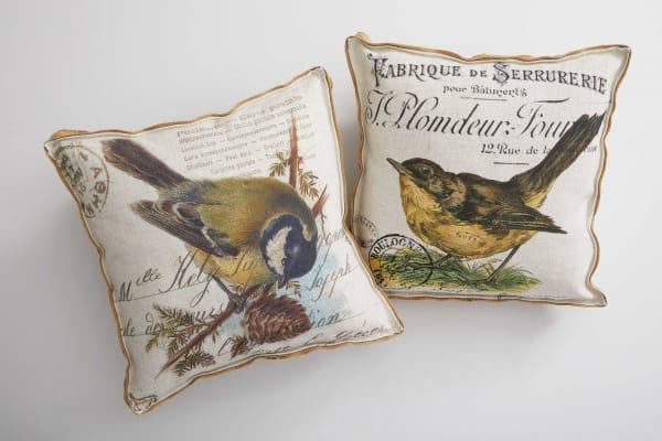 Cream Yellow Bird Gold Finch Decorative Pillow