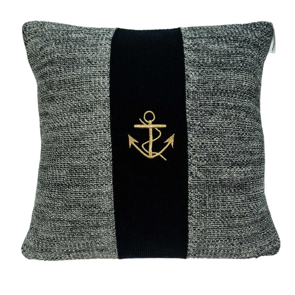 Square Nautical Gray and Black Anchor Pillow Cover