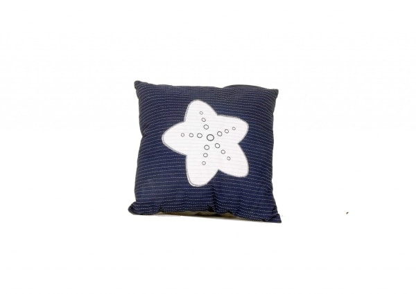 Blue Square Accent Pillow with Nautical White Star