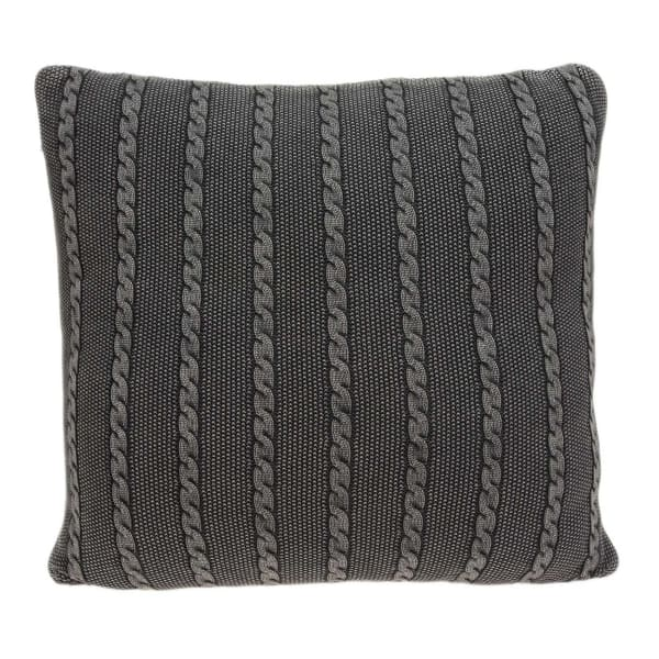 Casual Square Sweater Knit Charcoal Stripe Accent Pillow Cover