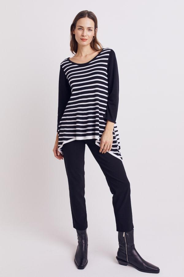 Roz & Ali Contrast Stripe Sweater