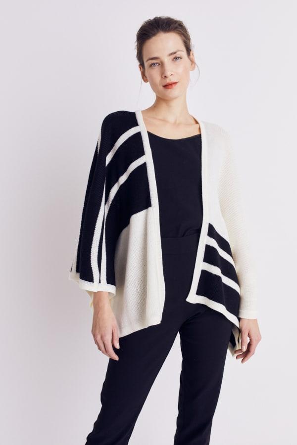 Roz & Ali Colorblock Open Front Sweater Poncho