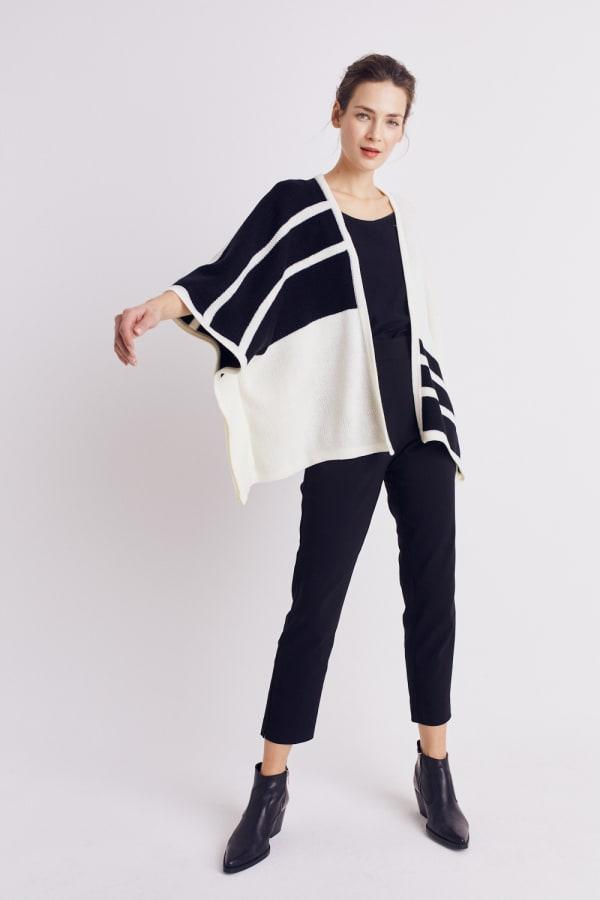 Roz & Ali Colorblock Open Front Sweater Poncho - Black/Cream - Front