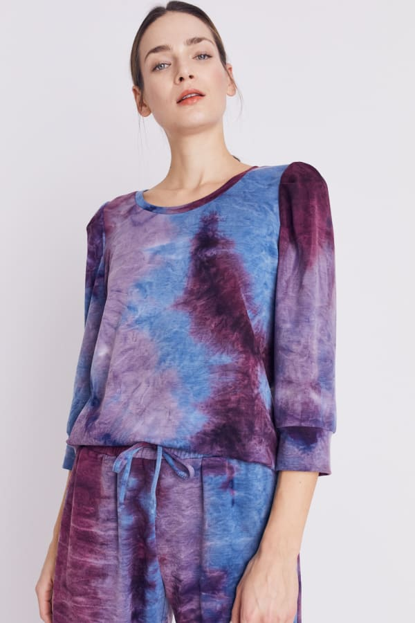 DB Sunday Tie Dye Puff Sleeve Sweatshirt - Misses - Blue/Purple - Front