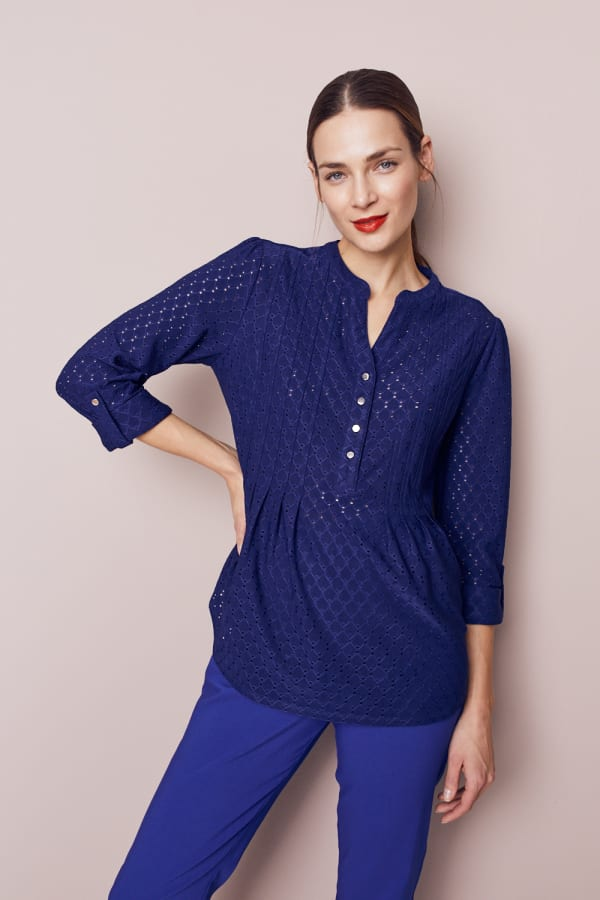 Roz & Ali Eyelet Knit Pintuck Popover - Misses - Navy - Front