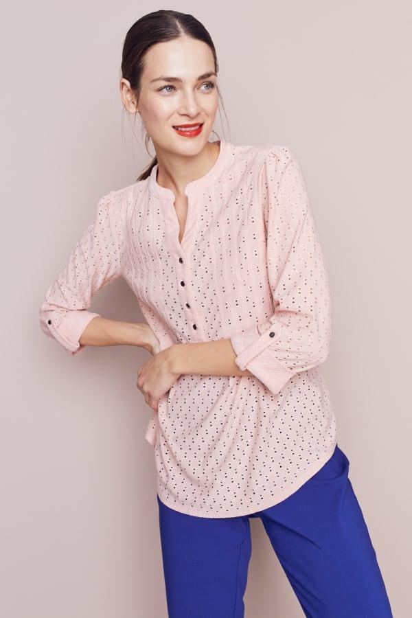 Roz & Ali Eyelet Knit Pintuck Popover - Misses - Pink - Front