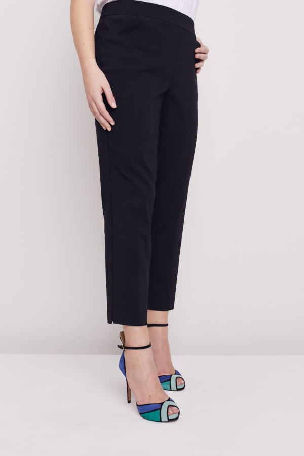 Plus  Super Stretch Tummy Control Pant with Cat Eye Pockets and Ankle Slit - Plus