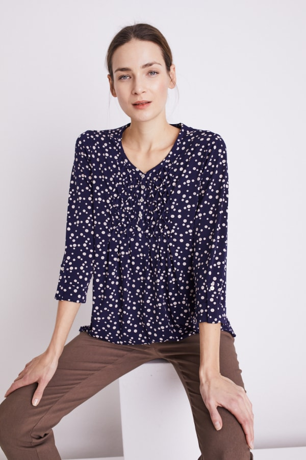 Roz & Ali Navy Dot Diamond Pintuck Popover - Navy-Tan - Front