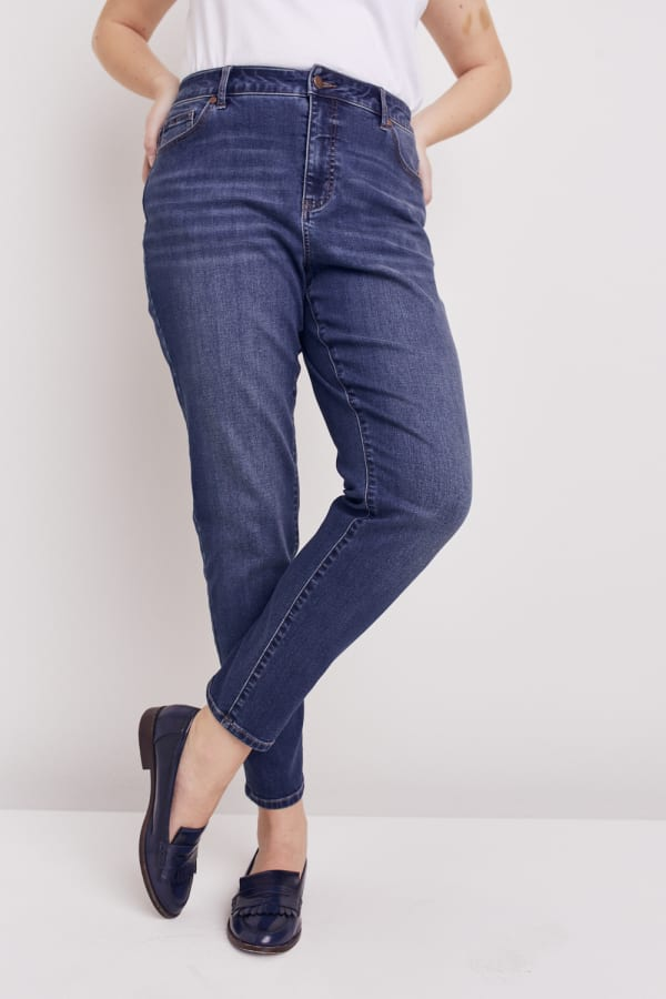 Plus Westport Incrediflex Denim Fit Solution 5 Pocket Skinny Jean - Plus - Dark Wash - Front