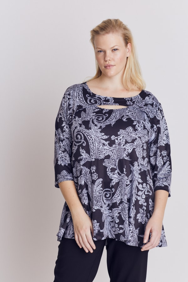 Roz & Ali Paisley Keyhole Fit and Flare Knit Top - Plus - Black/Grey - Front
