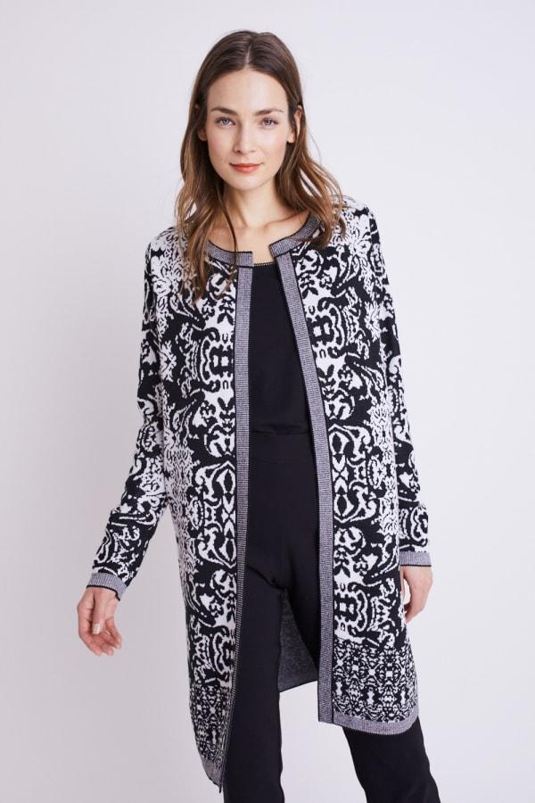 Roz & Ali Scroll Coatigan Sweater - Black/White - Front