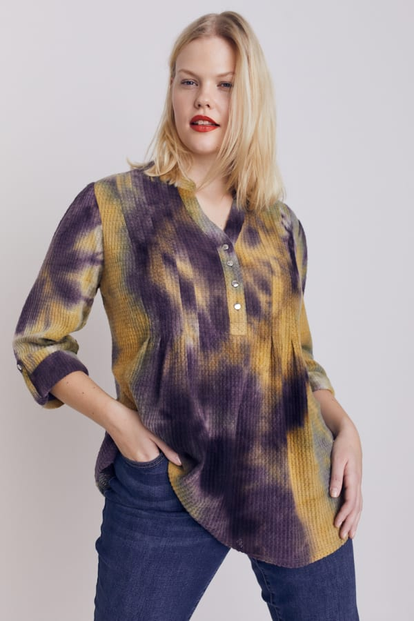 Roz & Ali Waffle Tie Dye Pintuck Popover - Plus - Mustard/Olive - Front