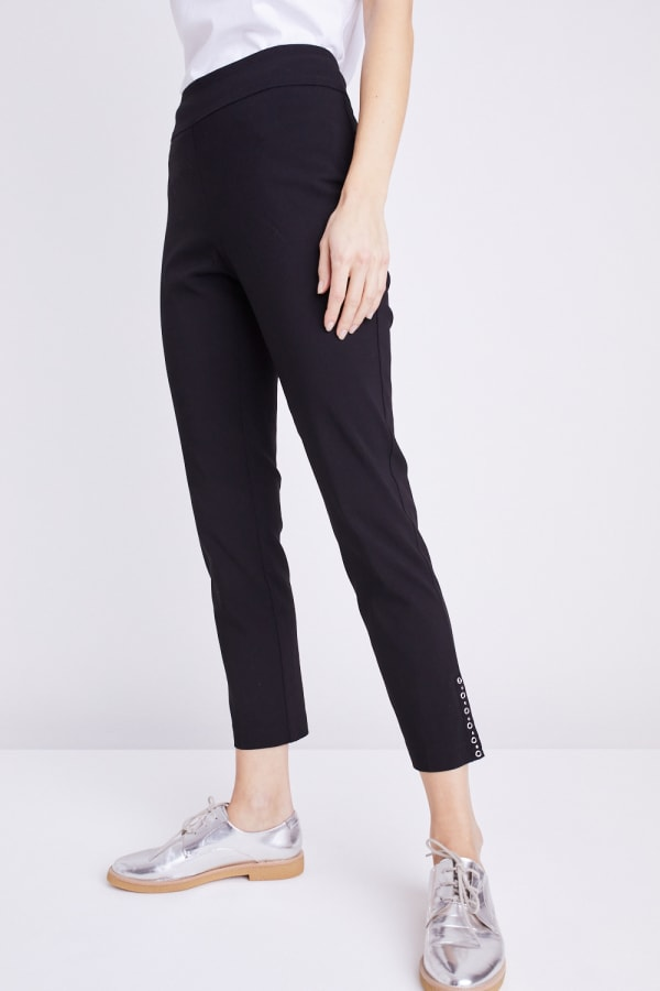 Tummy Control Superstretch Ankle Pant With Grommet Rivet Tape Trim