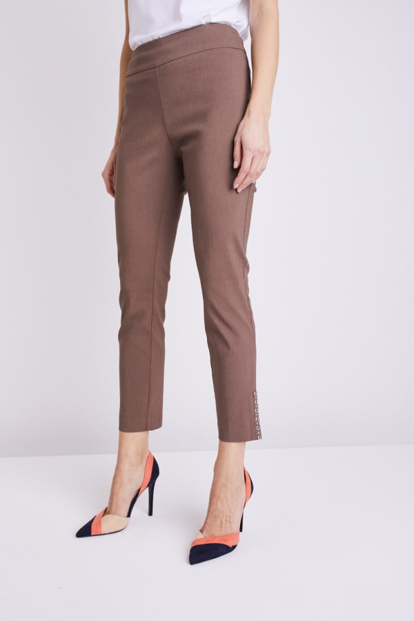 Roz & Ali Tummy Control Superstretch Ankle Pant With Grommet Rivet Tape Trim - Mocha - Front