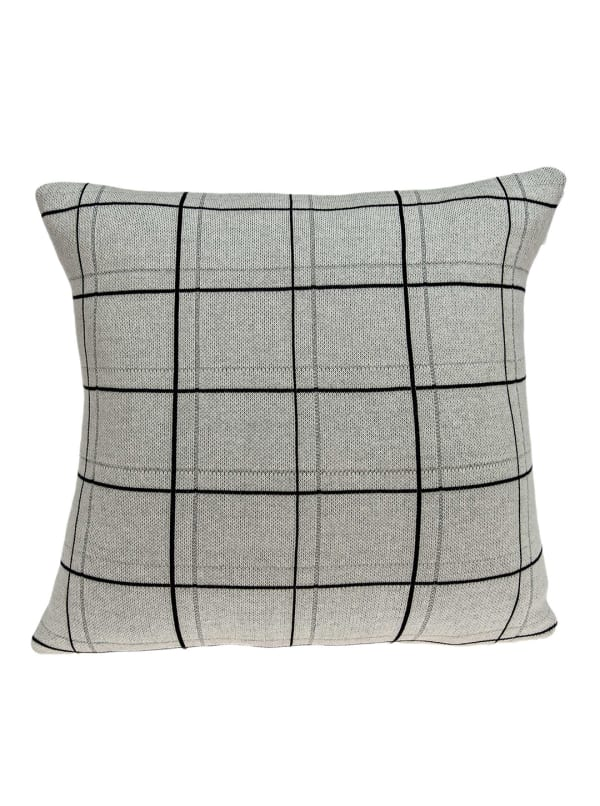 Large Scale Tan and Grey Plaid Cotton Accent Pillow Cover - Gray - Front