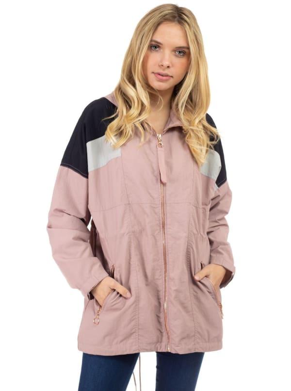 26 International Drop Shoulder Zip Up Color Block Nylon Anorak Jacket