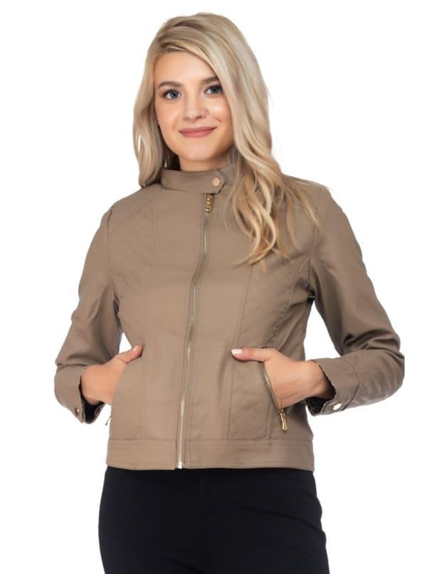 26 International Quilting Detail Vegan Leather Jacket