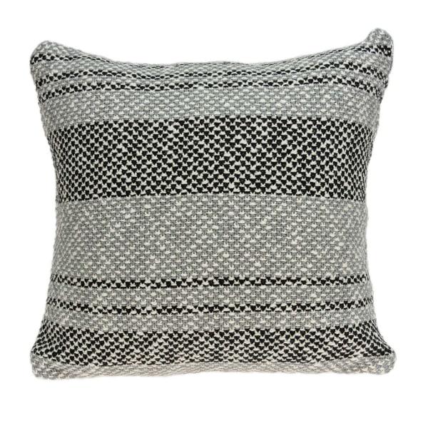 Square Gray Regatta Stripe Accent Pillow Cover