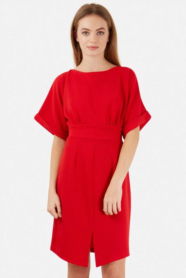Red Turn Up Sleeve Split Front Dress