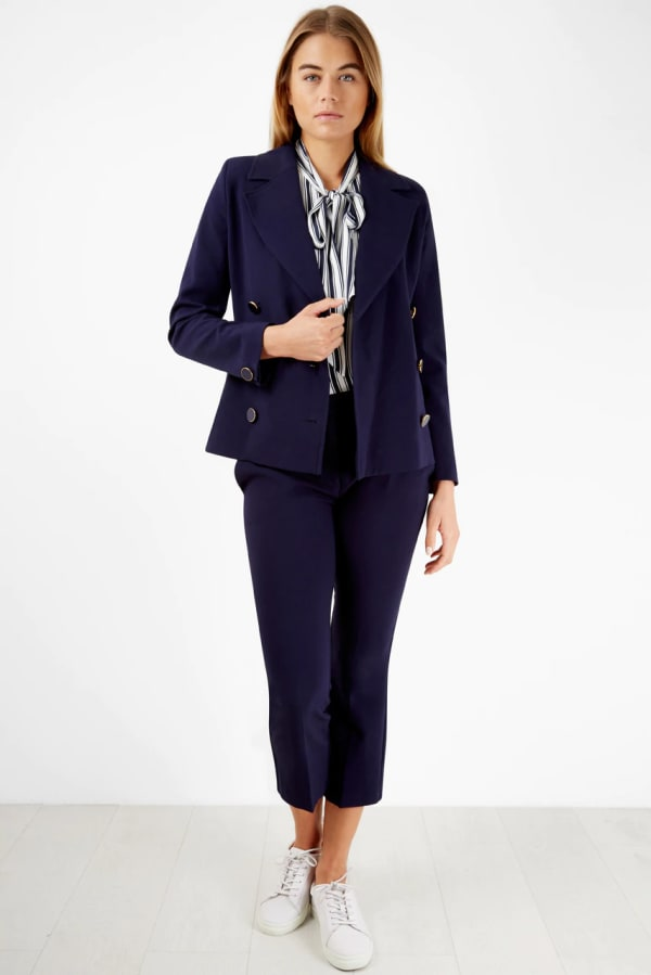 Navy Double Breasted Button Collar Jacket